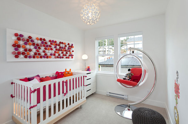 Unique Nursery Theme That You Can Follow: Cozy Contemporary Nursery Design With Bubble Chair And Eye Catching Wall Art