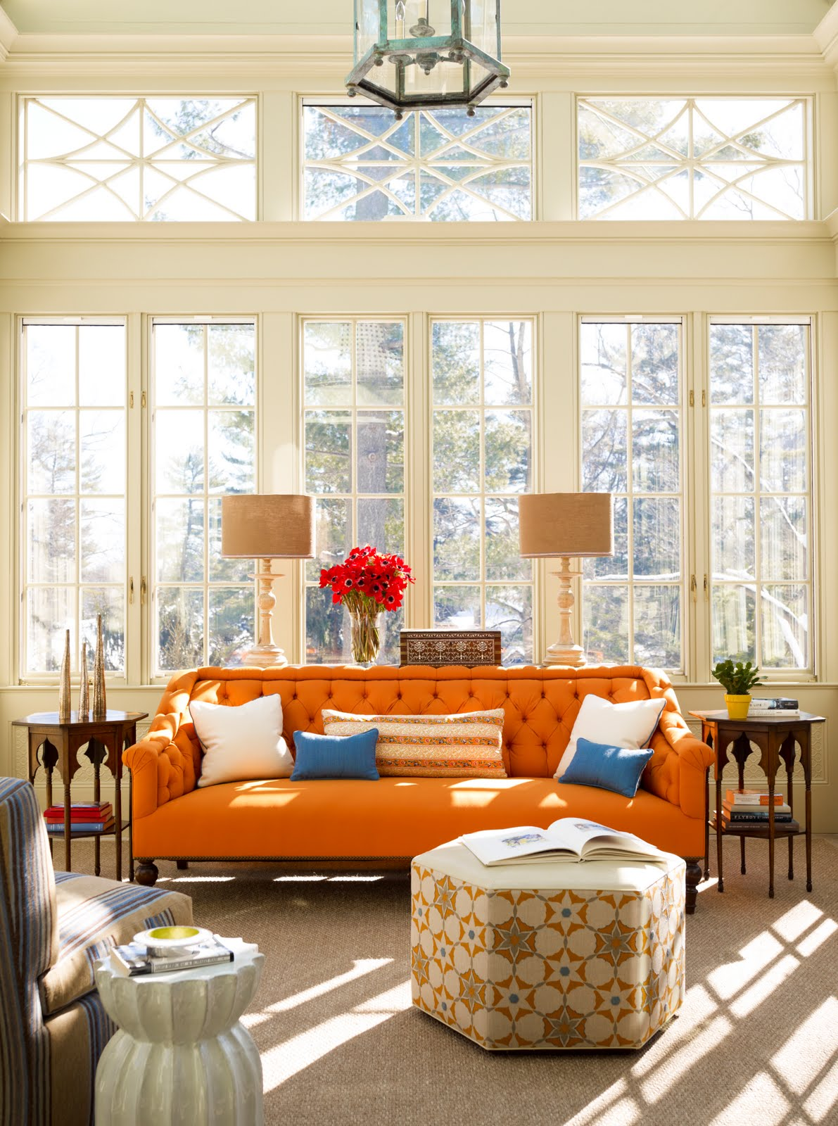 Orange Sofa As Cheerful Furniture : Cozy Katie Ridder Book Living Room  Orange Sofa Cococozy Design