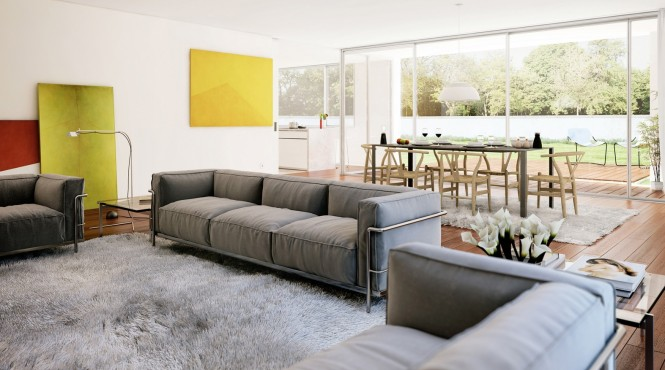 Modern Mix Of Living And Dining Room Into A Multipurpose Room : Cozy Living And Dining With Fur Carpet