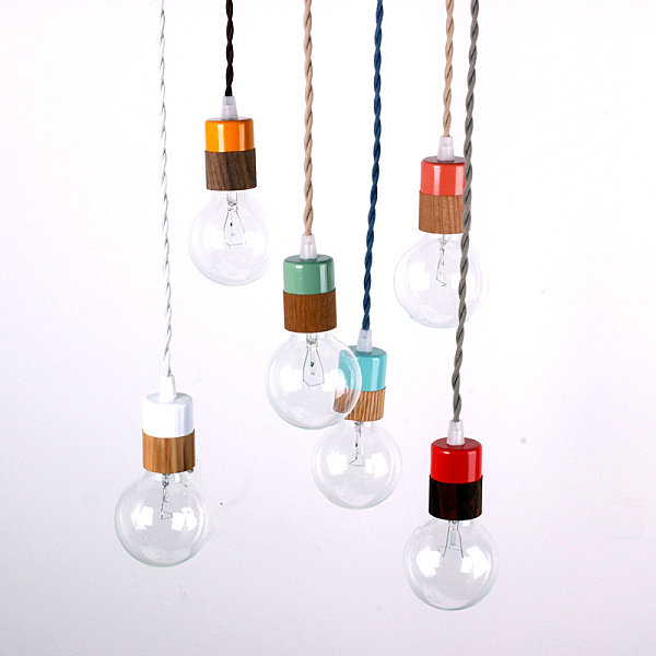 Trendy Wooden Decor In Geometrical Shape: Cozy Minimalist Bulbs Pendant Light With Colorful Wooden Veneer