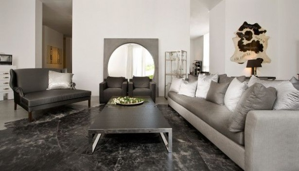 Cozy Modern Living Room With Mirror And Metal Coffee Table