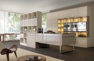 Striking Kitchen Design As The House Center Of Attention : Cream Kitchen Storage With Fancy Kitchen Cabinetry Lighting