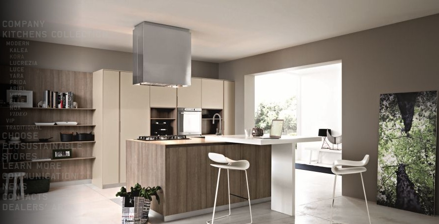 Contemporary Kitchens With Exceptional Ideas : Cream Taupe Wood Modern Kitchen