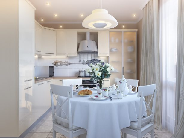 Exciting Kitchen Dining Ideas For Small House: Cream White Dining Kitchen ~ stevenwardhair.com Kitchen Designs Inspiration