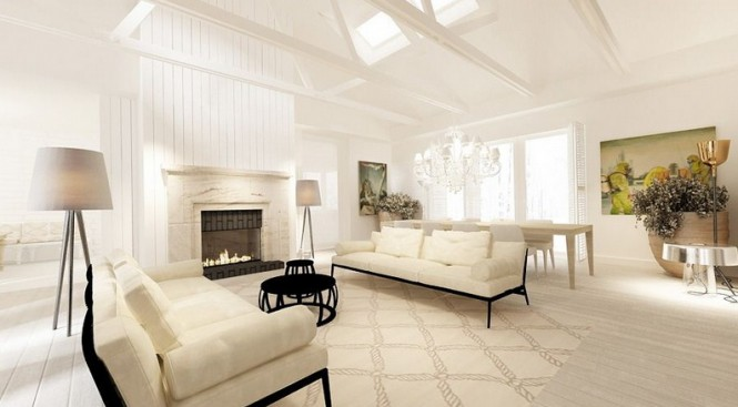 Perfect Interior Design Idea For Our Design Space: Cream White Living Room Resplendent Design With Fireplace