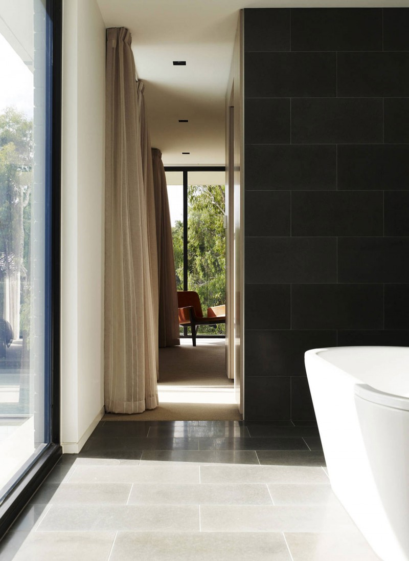 Stunning Modern Home Interior With Black And White : Creamy And Brown Curtain For Glazed Window