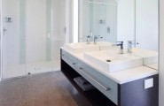 Floating Cabinet And Vanity Set For Every Home : Creative Floating Cabinet Sink Surrounded By Mirrored Surfaces