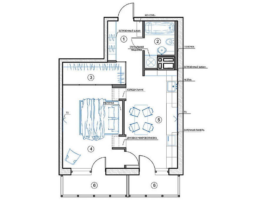 Compact Small Apartment In Black And White Decoration : Creative Floor Plan Of Russian Apartment By Designer Natalia Akimov