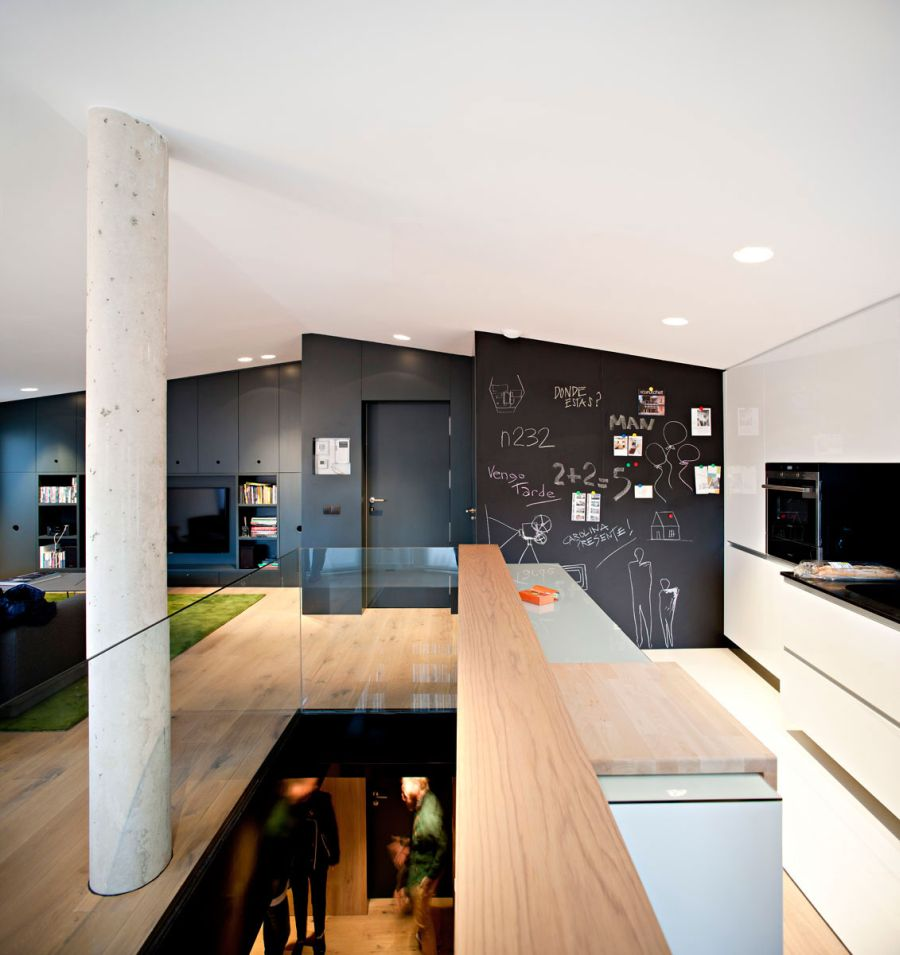 Modern Duplex Design In Spanish Style : Creative Kitchen Decor Spanish Penthouse With Chalkboard Wall