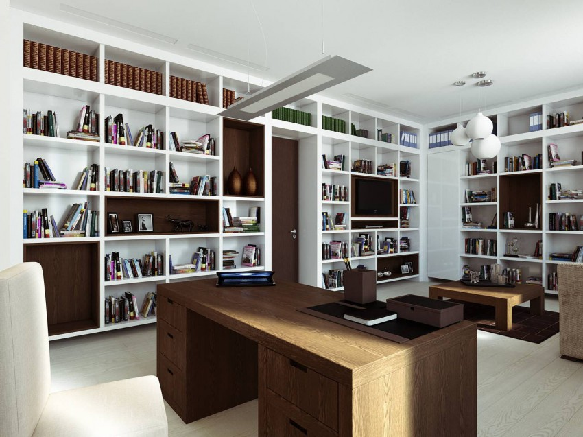 Awesome Modern Interior Space Modified Artistically And Elegantly: Crowded Bookcase Area At Apartment Design In Moskovyan Plaza