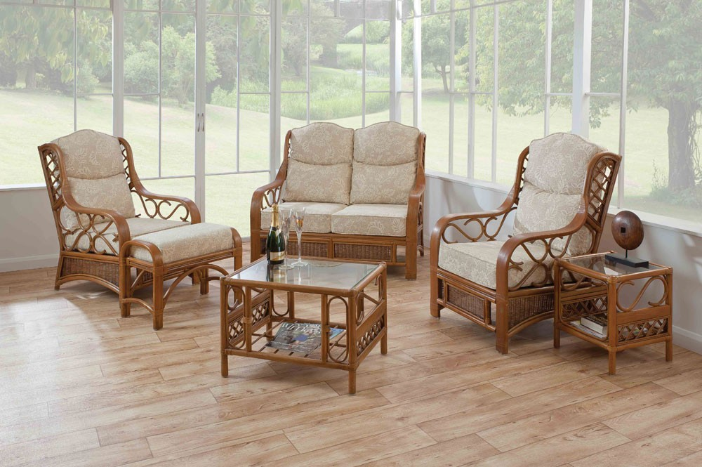 Cane Conservatory Furniture For Indoor And Outdoor Design : Cushion Chair Glass Table Parquette Floor Side Table