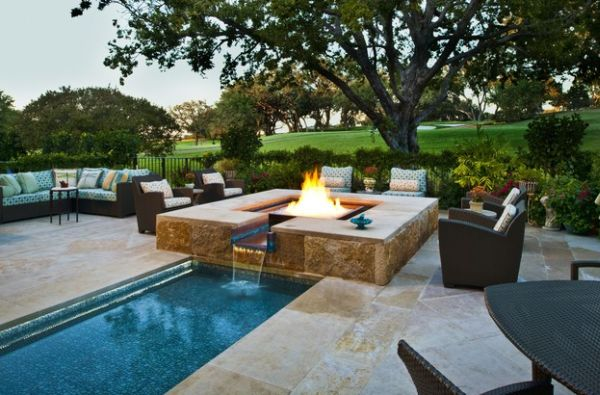 Stunning Outdoor Fireplace Design In Various Styles: Custom Designed Glass Fire And Water Feature For The Pool ~ stevenwardhair.com Fireplace Inspiration
