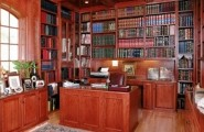 Contemporary Home Library Furniture With Neat Arrangement : Custom Home Library Interior Design