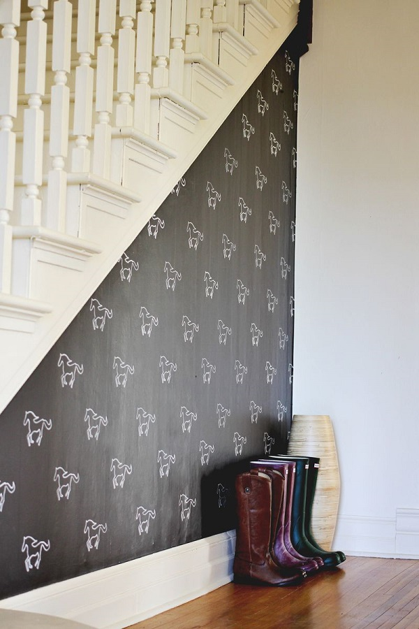 Wonderful Yet Easy Wall Decoration Ideas For Stunning Home Interior : Custom Stencil Accent Wall