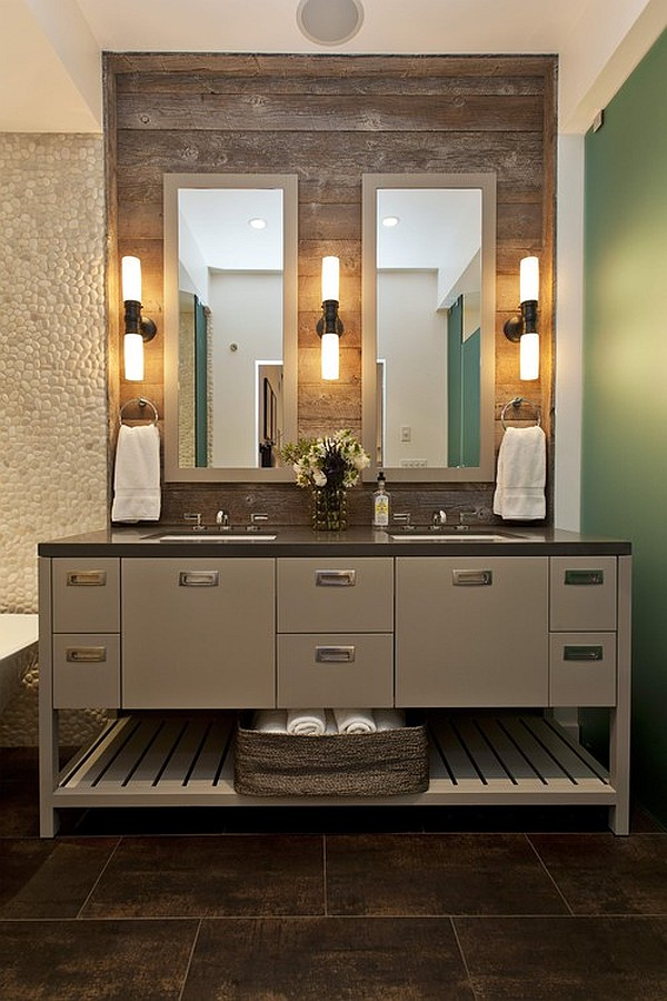 Bathroom Sink For Two : Custom Vanity With Lamps On Reclaimed Wood Wall