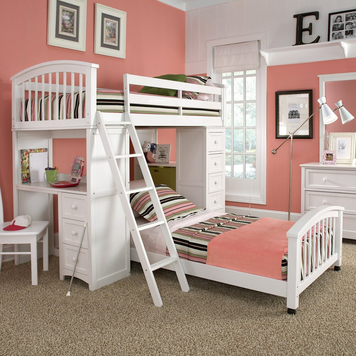 Simple L Shaped Bunk Beds For Small Bedroom Space: Cute L Shape Bunk Beds Pink Wall White Dressing Table