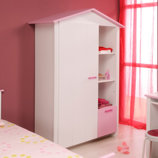 Kids Wardrobes Models For Girls: Cute Minimalist House Shape Kids Wardrobes Design In White ~ stevenwardhair.com Closets Inspiration