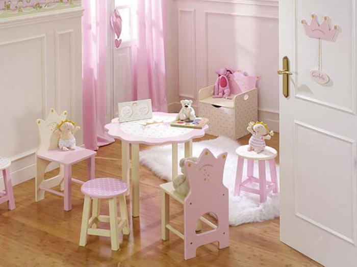 Adorable Nursery Furniture In White Accents For Unisex Babies : Cute Pink White Nursery Furniture Minimalist Furniture Table And Bench