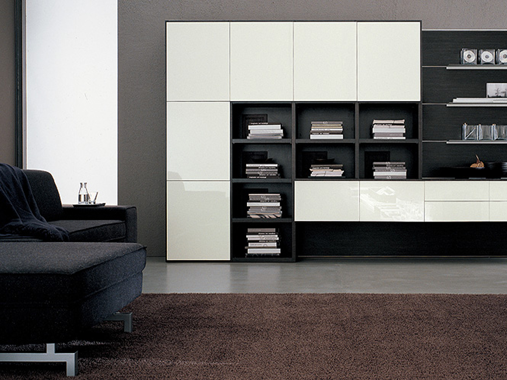 Futuristic TV Unit Design Supplied With Hidden Lights And Bookcase: Dark Bed Sofa Brown Carpet TV Unit Design Box Shelves