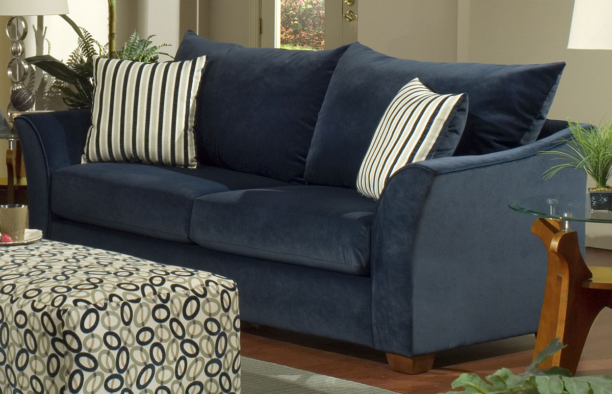 Blue Sofas: Unique And Enlightening Furniture: Dark Blue Sofa Motives Sofa Table Table Lamp Simple Rugs