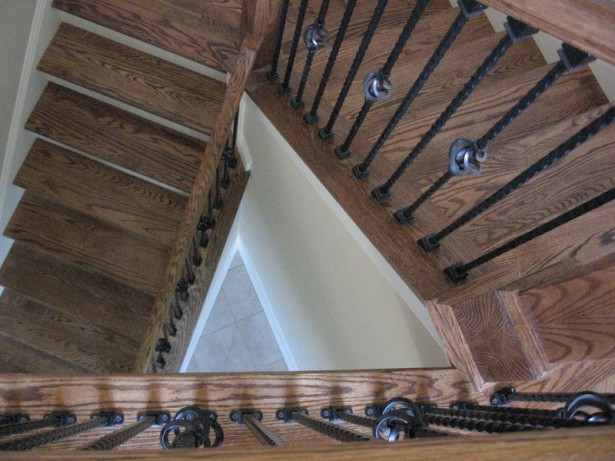 Classy Winder Staircase Design Represents With Rustic Looks: Dark Metallic Railing Wooden Winder Staircase Design Old Floor Tiles ~ stevenwardhair.com Stairs Inspiration