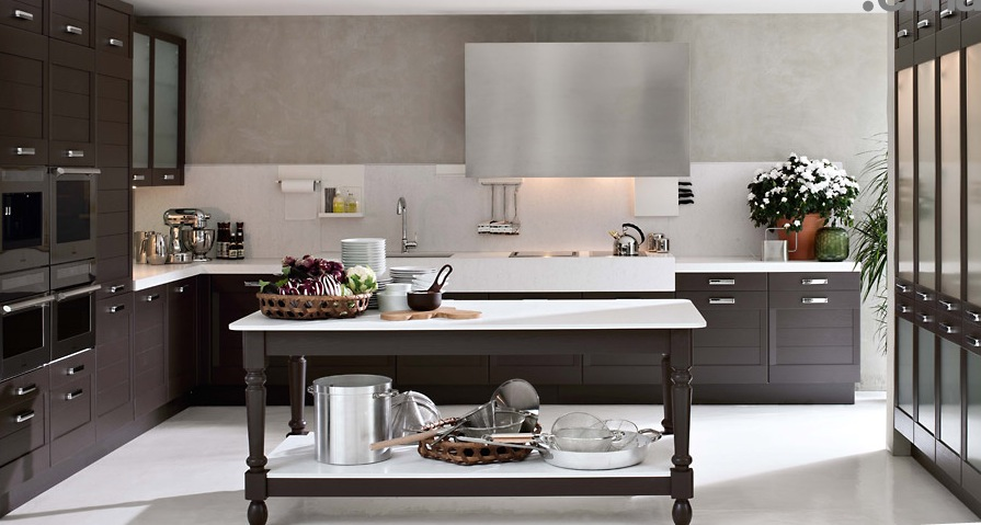 Enchanted Modern Kitchen In White: Dark Wood Classical Kitchen