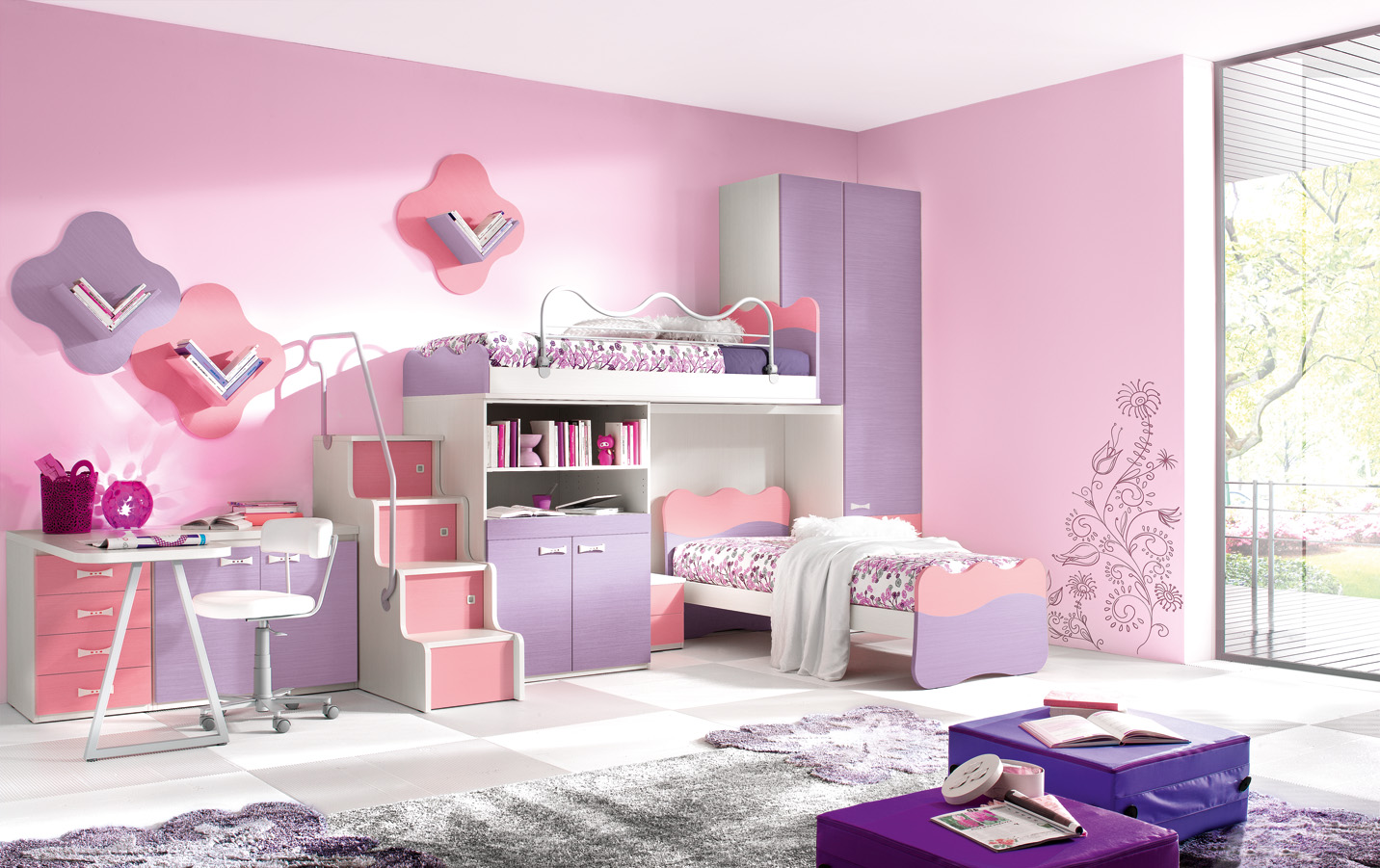 Colorful Kids Bedroom Ideas In Small Design : Delightful Modern Kids Bedroom Ideas With Bunk Beds