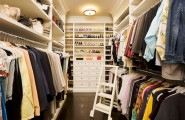 Simple Tips In Planning Walk In Closet Design : Dense But Cool Aisle Type Walk In Closet With Wardrobe Aside