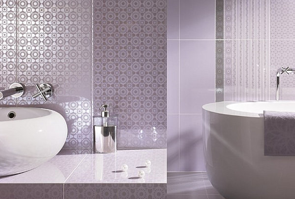 Artistic Pastel Color Palette Decoration: Detailed Wall Coverings In A Lavender Bathroom ~ stevenwardhair.com Interior Design Inspiration