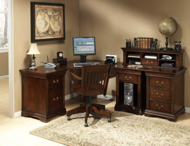 Effective Home Office Area At Your House Corner: Dijon Ii Home Office Elegant With Wooden Furniture ~ stevenwardhair.com Office & Workspace Design Inspiration