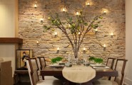 Dining Room Wallpaper To Create High Artistic Value : Dining Room Accent Wall Stone