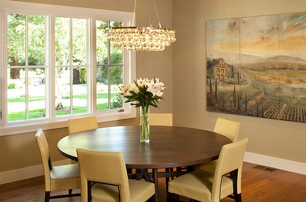 Stylish Dining Room Sticking Out Modesty Ideas In Your Home : Dining Room With Round Table And Beige Chairs