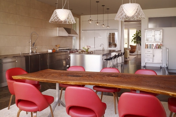 Fascinating Dining Room Decoration Offers Comfort Taste : Dining Room With Unusual Shaped Table And Comfy Red Chairs