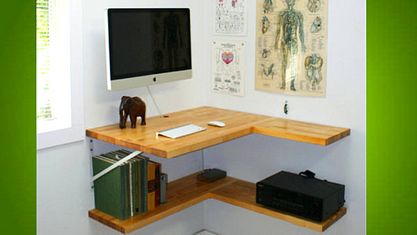 Wall Mounted Desks For Saving Space: DIY Floating Corner Desk ~ stevenwardhair.com Desks Inspiration