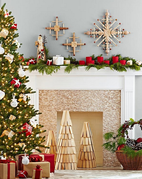 Amazing Fireplace Mantels For Your Best Christmas Ever: DIY Wooden Christmas Tree Replicas And Handmade Snowflakes Adorn The Fireplace ~ stevenwardhair.com Fireplace Inspiration