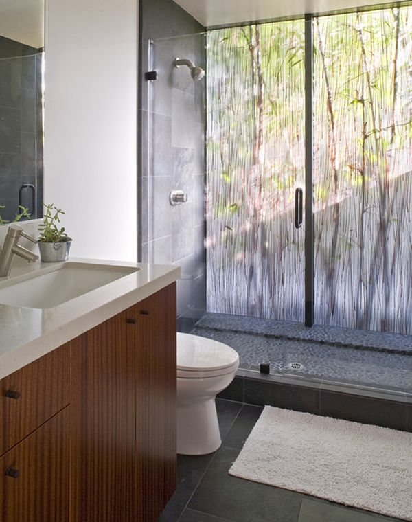 Glass Shower Door For Bigger Impression : Dramatic Bathroom With Beautiful Backlit Rainforest Like Acrylic Panel And Glass Doors1