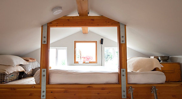 20 Contemporary Ideas Of Enchanting Adult Loft Beds: Earthy Loft Bed In A Modern Home