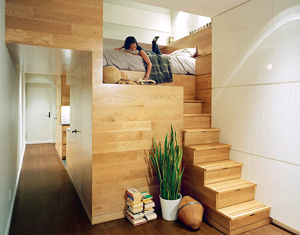 20 Contemporary Ideas Of Enchanting Adult Loft Beds : East Village Loft Bedroom