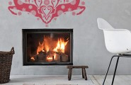 Christmas Decor Idea: Living Room And Dining Room : Eclectic Built In Fireplace Design With Christmas Decals And Rattan Basket