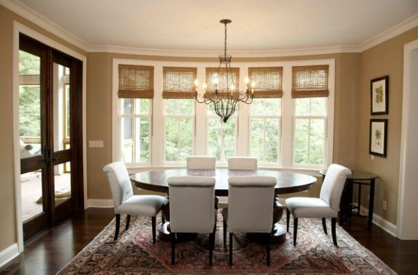 Sensational Bamboo Blinds In Contemporary House: Eclectic Dining Room Offers A Blend Of Several Different Design Styles ~ stevenwardhair.com Windows Inspiration