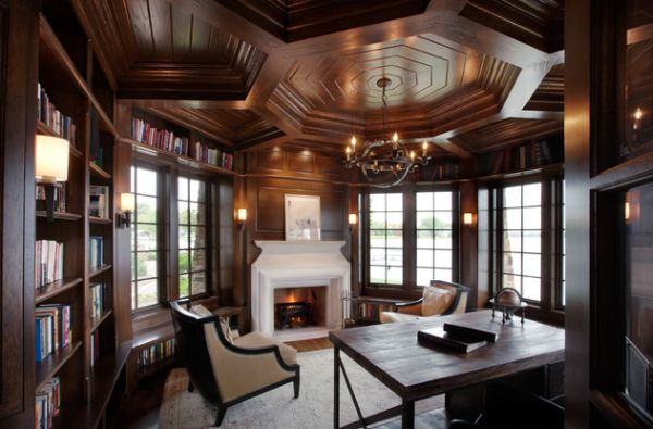 Fascinating Ceiling Design Take Home Decor To Next Level : Elaborate Ceiling In Wood Gives This Traditional Home Office A Timeless Look