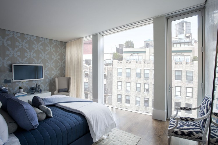 Gorgeous Modern Residence For Youthful Soul Living Place: Elegant Bedroom Design In The Park Avenue Given Otside View