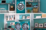 Stunning Laundry Room Organization Ideas For A Limited Space : Elegant Blue Minimalist Modern Style Laundry Room Organization Ideas