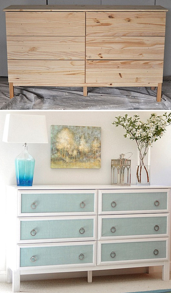 Creative Furniture Modifying Interior Design Perfectly : Elegant Dresser Makeover From Wooden To Bright White And Blue
