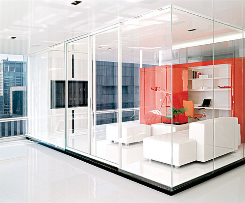 Elegant Office Design Ideas Apply Brown To The Interiors And Furniture: Elegant Glass Wall White Sofa Sectional Office Design Ideas ~ stevenwardhair.com Office & Workspace Design Inspiration
