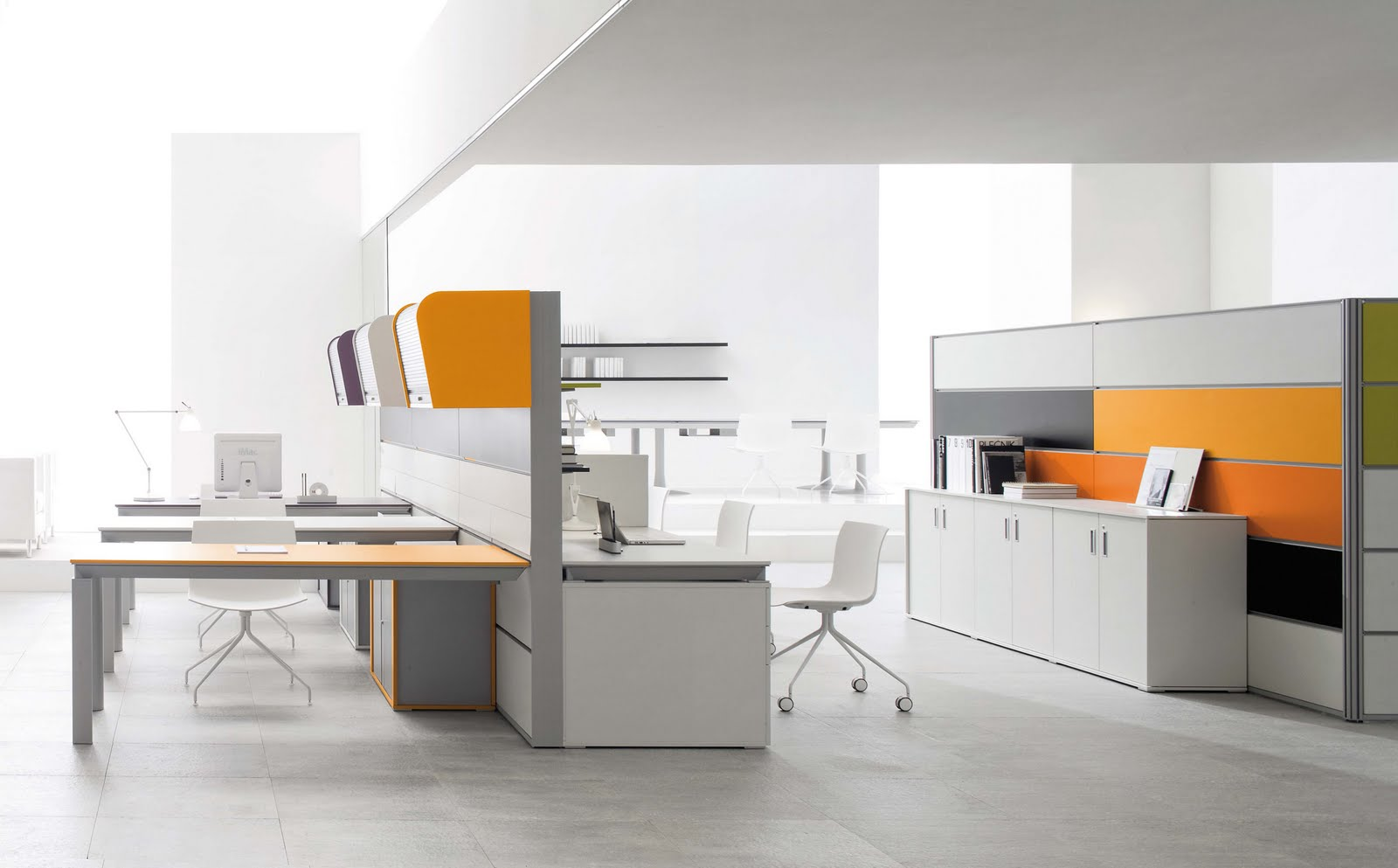 Sleek Modern Office Furniture Makes Stylish And Cool Office Atmosphere : Elegant Modern Office Furniture White Interior Grey Accents Desk