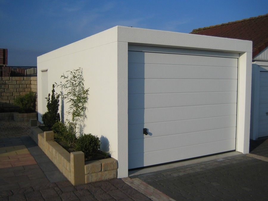Wonderful Prefab Garages For Practice Garage Building: Elegant Modern Style White Prefab Garages Design Ideas