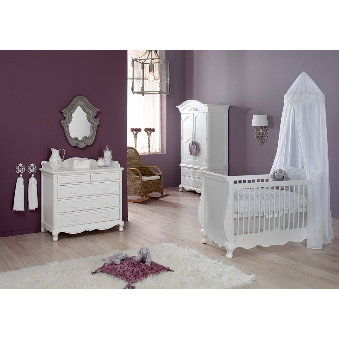 Adorable Nursery Furniture In White Accents For Uni Babies Elegant Purple Room Interior