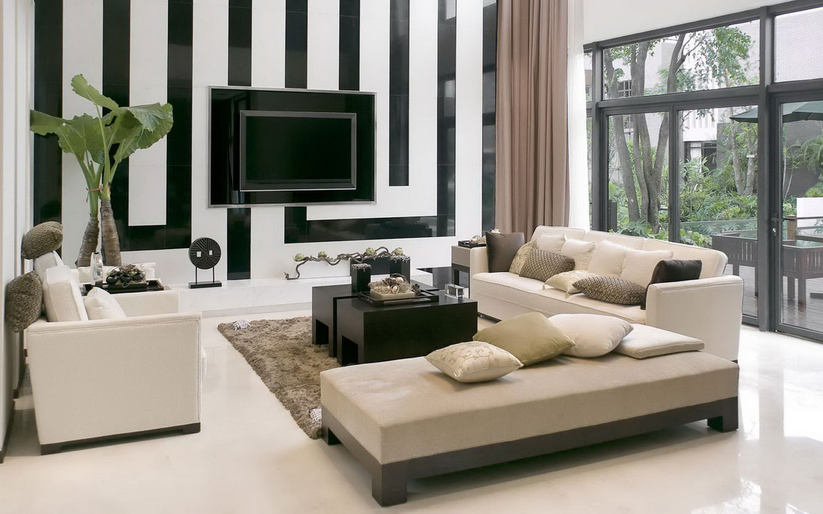 Spacious Modern Home Interior Design For Living Room : Elegant Sofa Unique Wallpaper Modern Home Interior Design