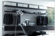 Stunning Walk In Closet Black Designed In Contemporary Flair : Elegant Walk In Closet Black Design Stand Lamp Black Floating Chair